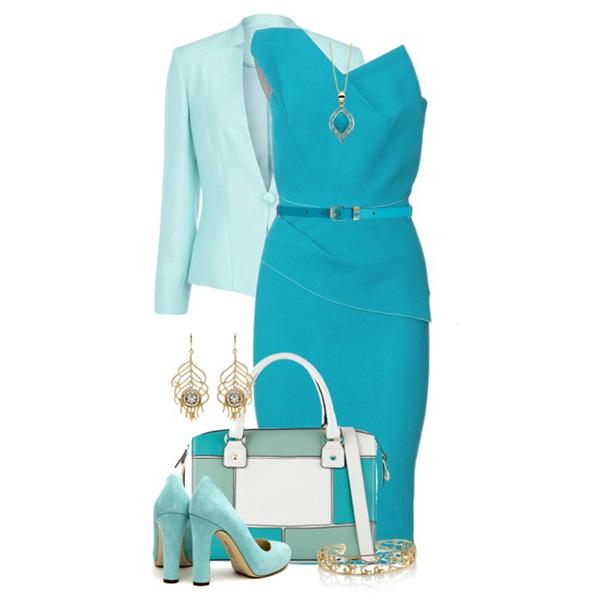 Платье бирюзового цвета с какими туфлями