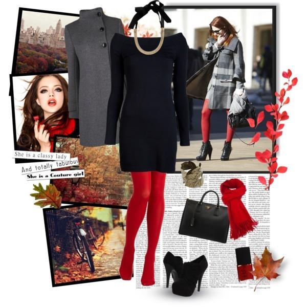 Женские черные чулки и черное платье