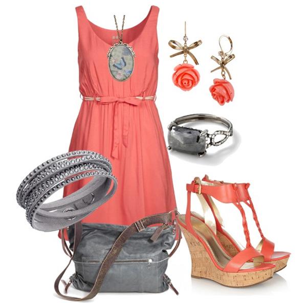К коралловому платью какого цвета туфли