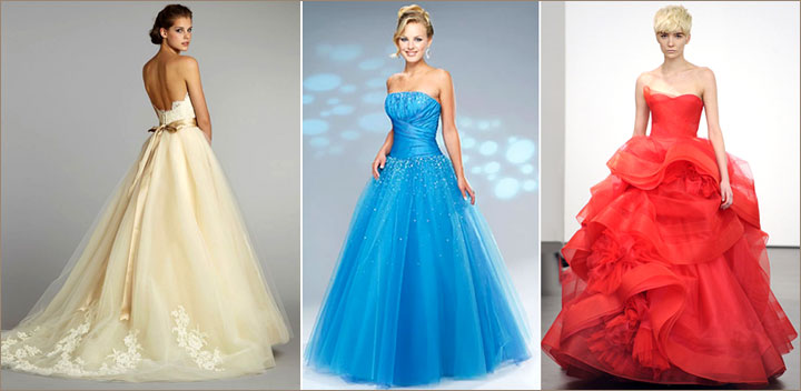 Цветные свадебные платья лето 2015 фото которых можно посмотреть ниже, имеют немалое количество значимых преимуществ. В первую очередь стоит отметить более