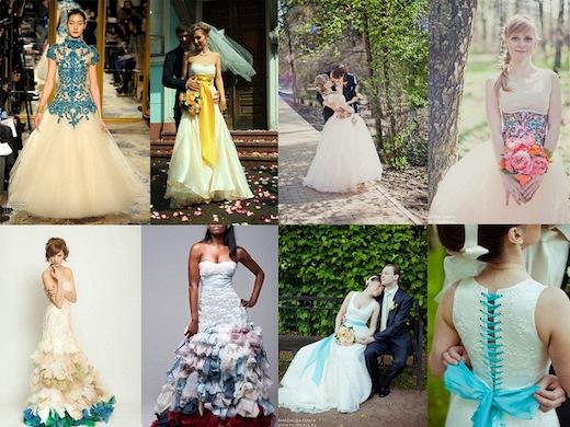 Хороши разноцветные свадебные платья фото которых можно посмотреть ниже и тем, что они прекрасно обходятся без украшений. Такое облачение само является