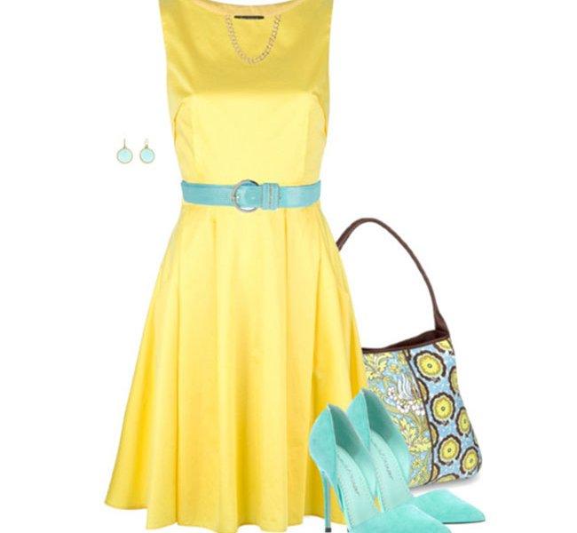 Желтые платья и аксессуары к ним фото