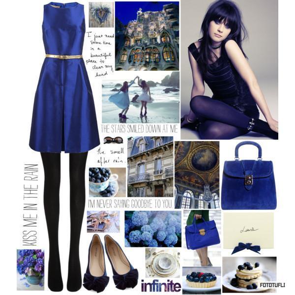 Синее платье с черным рисунком