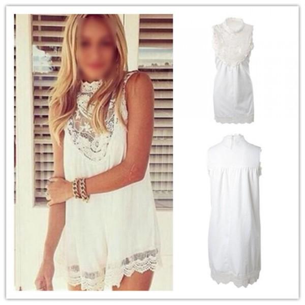 a60529854826146 Купить белое кружевное шифоновое летнее платье   BGFashion