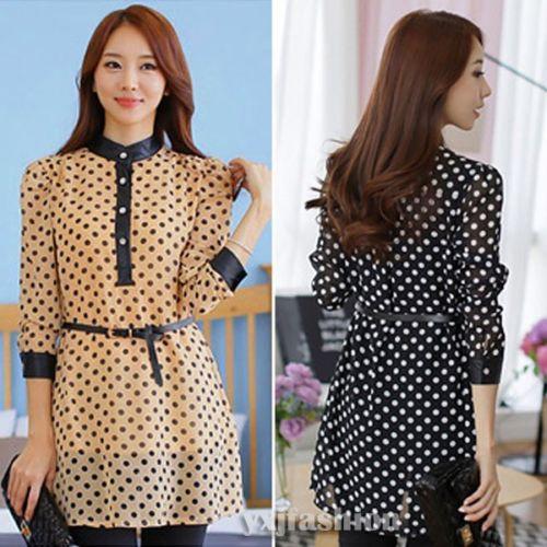 93e7ad4c7fc Шифоновое короткое чёрное(коричневое) платье в горошек с кожаным поясом
